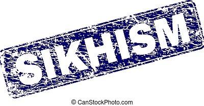 Grunge SIKHISM Framed Rounded Rectangle Stamp - SIKHISM...
