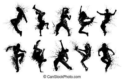 grunge, silhouette, gens