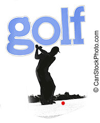 grunge silhouette of golfer and GOLF