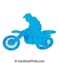grunge, silhouette, piattaforma girevole, motocross