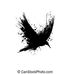 grunge, silueta, cuervo