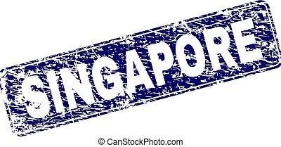 Grunge SINGAPORE Framed Rounded Rectangle Stamp