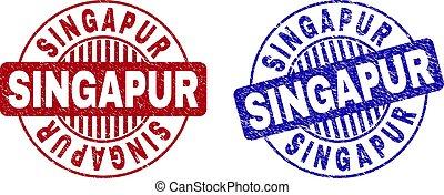 Grunge SINGAPUR Scratched Round Stamp Seals