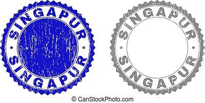 Grunge SINGAPUR Scratched Stamp Seals