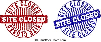Grunge SITE CLOSED Scratched Round Stamps