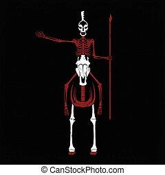 grunge skeleton in spartan helmet with spear on the horse