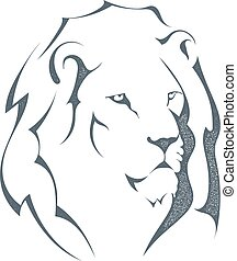 Grunge sketch black silhouette of a lion head isolated on white background. The king of all animals, grunge style. The strength and pride. Stock vector illustration.