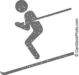 grunge, ski, -, icône