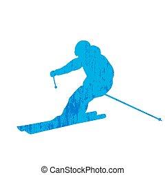 Grunge skier silhouette