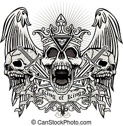 grunge skull coat of arms - Gothic coat of arms with skull,...