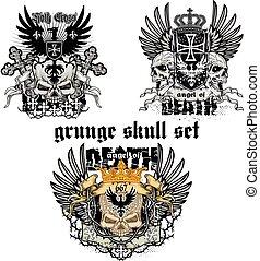 grunge skull coat of arms skull set