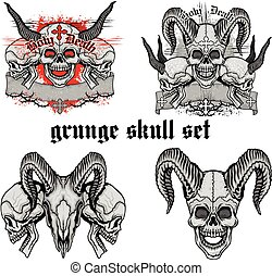 grunge skull coat of arms skull set