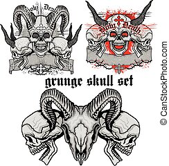 grunge skull coat of arms,skull set - Gothic coat of arms...
