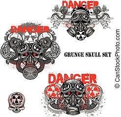 grunge skull coat of arms,skull set
