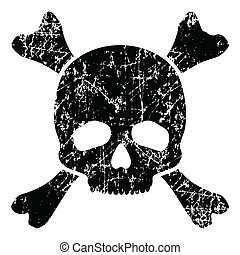 Grunge skull isolated on white