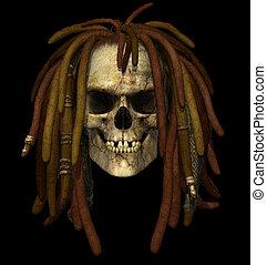 Grunge Skull with Dreadlocks - 3D render