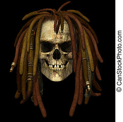 Grunge Skull with Dreadlocks - 3D render