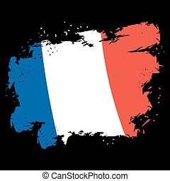 grunge, slagen, nationale vlag, frans frankrijk, staat, borstel, inkt, splatter., style., symbool