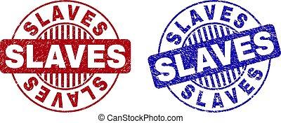 Grunge SLAVES Textured Round Stamps
