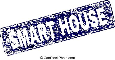 Grunge SMART HOUSE Framed Rounded Rectangle Stamp