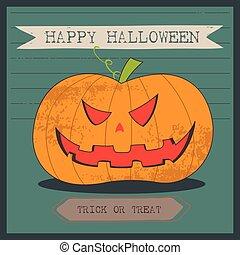 grunge, smiley, halloween, o, lewarek, tło, rysunek, latarnia