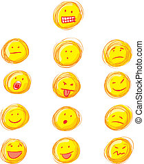 Grunge smilies - Whole set of smilies in grunge style