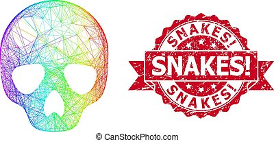 Grunge Snakes! Stamp and Rainbow Network Skull