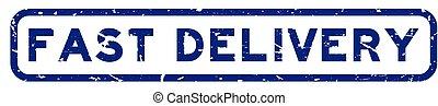 grunge, snelle levering, postzegel, blauwe , zeehondje, plein, witte , woord, rubber, achtergrond