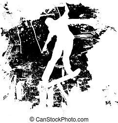 grunge, snowboard, o, skateboarder