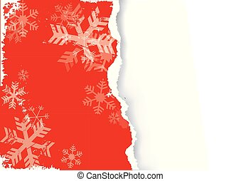 grunge, snowflakes., rouges, papier déchiré, fond, noël