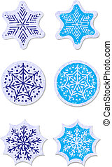 Grunge snowflakes stickers set