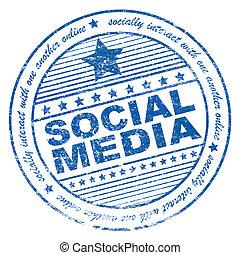 Grunge social media rubber stamp