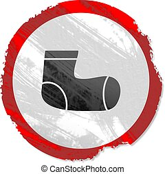 grunge sock sign - Grunge style Sock sign isolated on white.