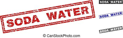 Grunge SODA WATER Scratched Rectangle Watermarks
