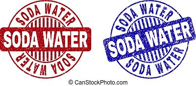 Grunge SODA WATER Textured Round Stamp Seals