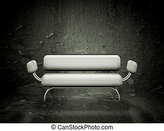 Grunge sofa - Contemporary style sofa against a grunge...