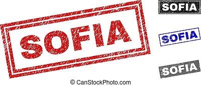 Grunge SOFIA Scratched Rectangle Stamps - Grunge SOFIA...