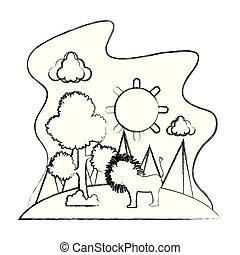 grunge, sol, árvore, leão, macho, paisagem