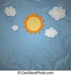 grunge, sole, illustrazione, vettore, retro, fondo, nuvola