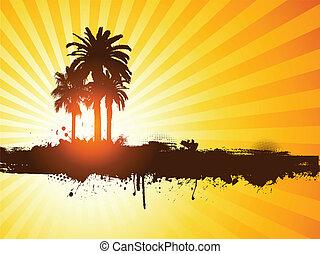grunge, sommar, palm trä, bakgrund