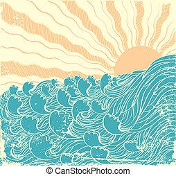 grunge, sonne, abbildung, vektor, waves., meer, landscapewith