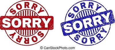 Grunge SORRY Scratched Round Stamps