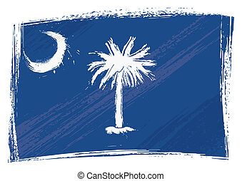 State of South Carolina flag created in grunge style