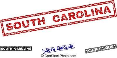Grunge SOUTH CAROLINA Textured Rectangle Stamp Seals