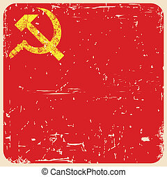 Grunge soviet background with hammer and sickle, vector
