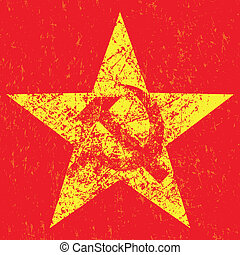 Grunge soviet star with hammer and sickle, vector