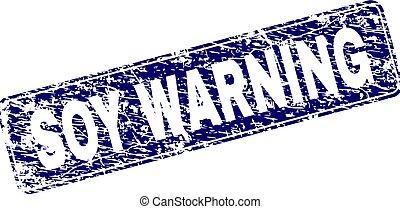 Grunge SOY WARNING Framed Rounded Rectangle Stamp