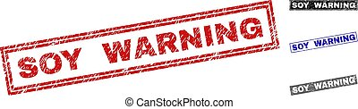 Grunge SOY WARNING Scratched Rectangle Stamp Seals