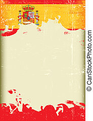 Grunge spain flag - A poster with a large scratched frame...