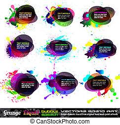 grunge, speach, bulle, 1, -, ensemble, collection